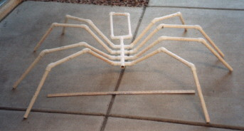 terry pvc skeleton front view - Giant Spider Halloween Decoration